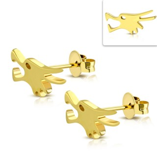 Clous d'oreille dorés en acier à tête de loup (Paire)