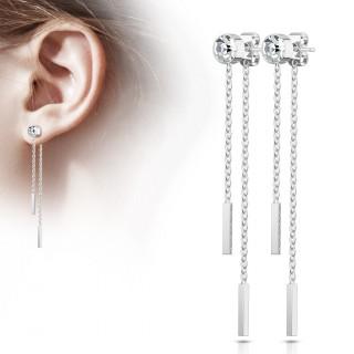 Clous d'oreille en acier à chaines et barres suspendues