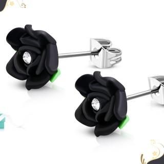 Clous d'oreille à fleur fimo noire (Paire)