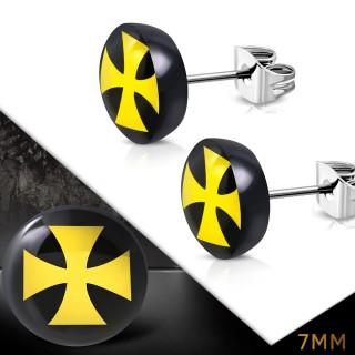 Clous d'oreille ronds à croix de malte jaune