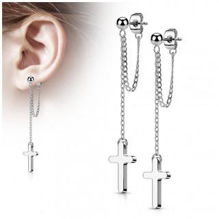 Clous d'oreilles perlés en acier Argenté à double chaîne et croix