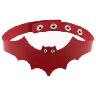 "Collier chauve-souris similicuir rouge ""VESPERTILIO CHOCKER"" - Banned"
