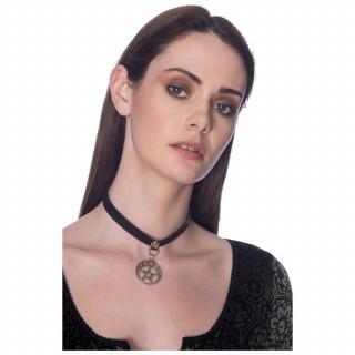 Collier chocker noir à médaillon pentacle - Banned