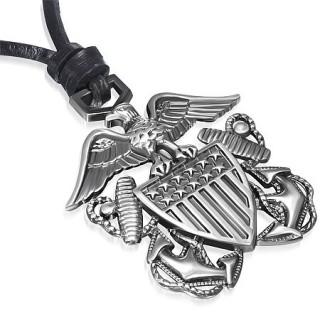 Collier cuir avec aigle sur ecusson américain avec ancres marine