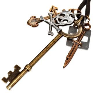 Collier cuir avec clé, croix, tête de mort et couteau