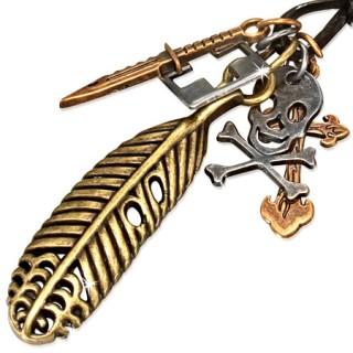 Collier cuir avec plume, tête de mort, croix et couteau