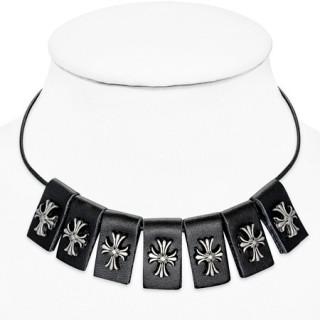 Collier gothique à bandes de cuir avec croix