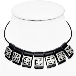 Collier gothique à bandes de cuir avec croix de Malte