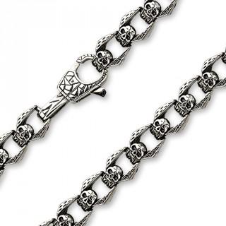 Collier gothique homme en acier à maillons en forme de cranes ailés