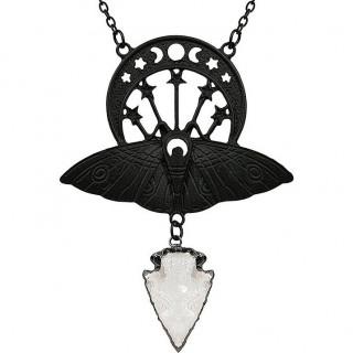 Collier à lune noire et papilloin de nuit - Restyle