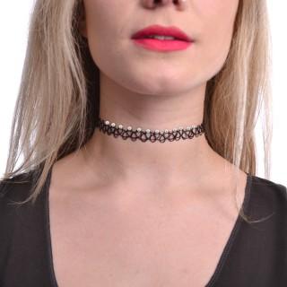 Collier ras de cou élastique en dentelle noire à perles