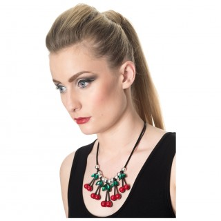 "Collier rockabilly à cerises et perles ""RAINA CHERRY"" - Banned"