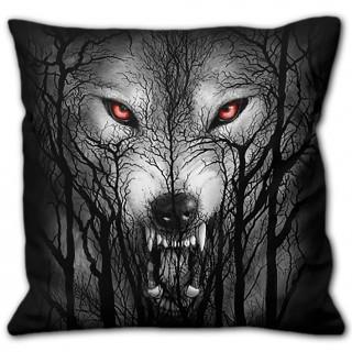 Coussin déco à loup et foret