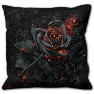 Coussin déco à rose noire incandescente