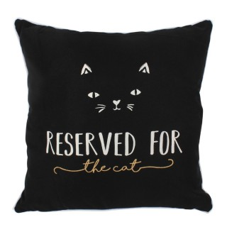"Coussin noir chat ""Reserved for the cat"""