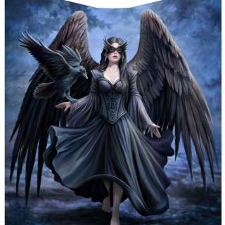 Couverture plaid 160cm à ange obscure et corbeau - Anne Stokes