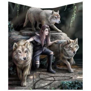 Couverture plaid 160cm à femme aux loups - Anne Stokes