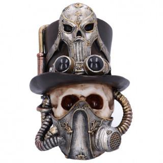 Crâne steampunk avec chapeau haut de forme et masque à gaz - 19.5cm