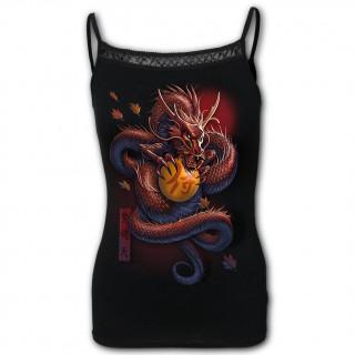 Débardeur femme bretelles à dragon asiatique tenant une orbe magique