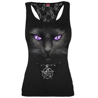 Débardeur femme dos dentelle à chat noir à pentagramme