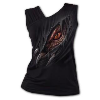 Débardeur femme à dragon déchirant le vêtement