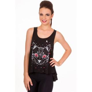 11285d80c8e8f Achat Débardeur femme goth-rock Banned à chat démoniaque pas cher