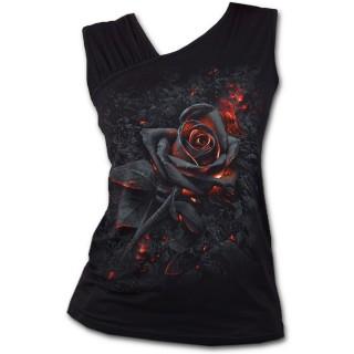 Débardeur femme goth-rock à rose incandescente