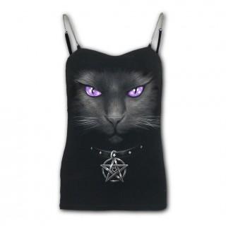 Débardeur femme gothique bretelles à chat noir à pentagramme