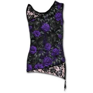 Débardeur femme gothique a dentelle et chats noirs avec roses violettes