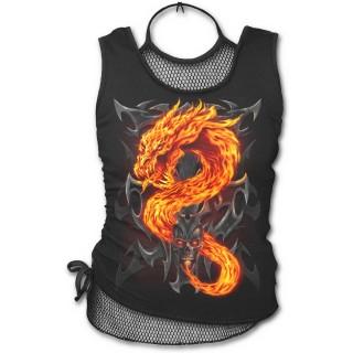 Débardeur femme gothique à maille filet avec dragon de flamme