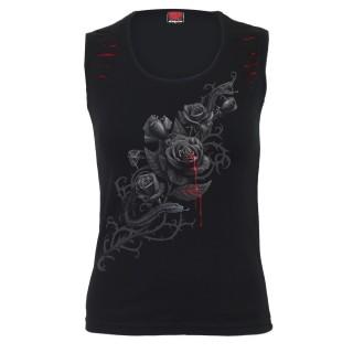 Débardeur femme à griffures avec rose noire et serpent