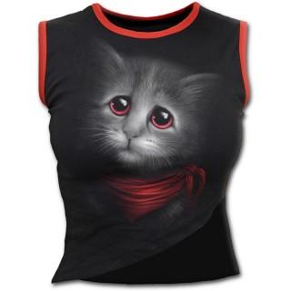 Débardeur femme noir avec chat attendrissant à foulard et yeux rouges