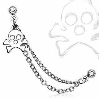 Double piercing cartilage Skull bones à chaines