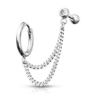 Double piercing d'oreille anneau clip et barbell strass enchainés - Inox