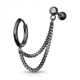 Double piercing d'oreille anneau clip et barbell strass enchainés - Noir