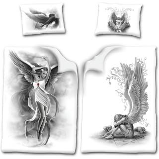 Drap housse double face (200x135cm) avec femme ange + 1 taie d'oreiller UK