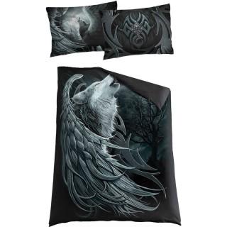 """Drap housse """"WOLF SPIRIT"""" à loup avec ailes d'ange (200x135cm) + 2 taie d'oreiller format EU et UK"""