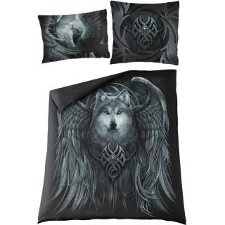 """Housse de couverture """"WOLF SPIRIT"""" à loup avec ailes d'ange (200x200cm) + 2 taies d'oreiller"""