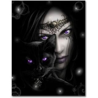 Drapeau style poster avec femme mystique et chat noir - CAT'S EYES