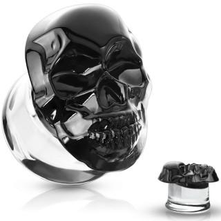 Ecarteur plug à tête de mort noire en verre