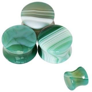 Ecarteur plug en pierre Agate verte