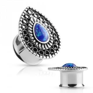 Ecarteur plug larme royale sertie d'une Opale bleue