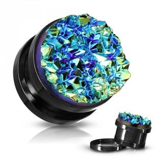 Ecarteur plug noir acier à druse bleue en résine