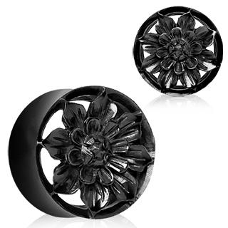 Ecarteur tunnel en corne de buffle noire à fleur Dahlia sculptée