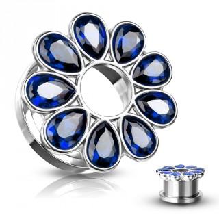 Ecarteur tunnel fleur zirconium bleue