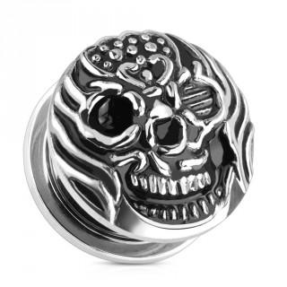 Ecarteur type plug en acier noirci avec tête de mort enflammée