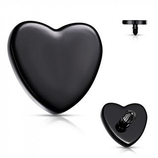 Embout de piercing Coeur Noir en acier (pour tige filetage interne)