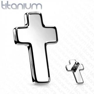 Embout de piercing Croix Latine en Titane G23 (pour tige filetage interne)