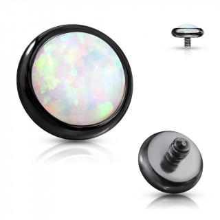 Embout disque de piercing Noir en acier à Opale (pour tige filetage interne)