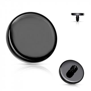 Embout disque de piercing Noir en acier (pour tige filetage interne)